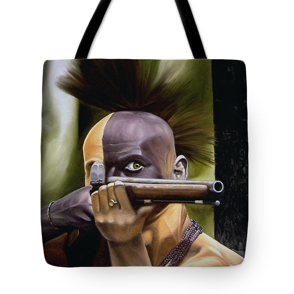 Indian Tote Bag featuring the painting Ambush by Marc Stewart