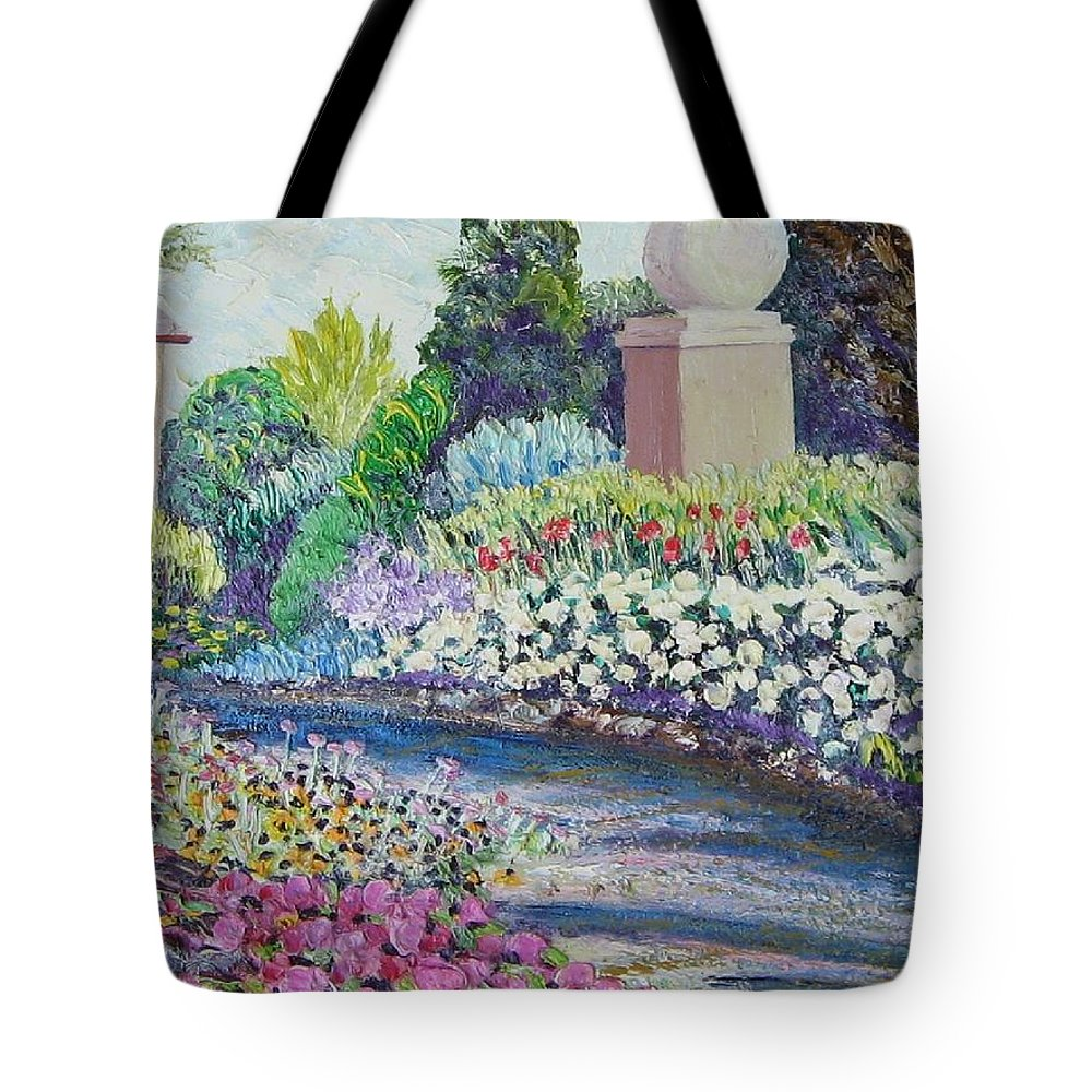 Flowers Tote Bag featuring the painting Amelia Park Pathway by Richard Nowak