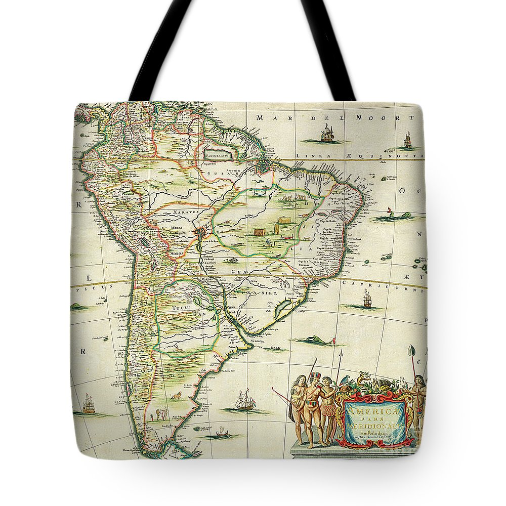 South America; Atlantic Ocean; Pacific; American; Continent Tote Bag featuring the painting America Pars Meridionalis by Joannes Jansson