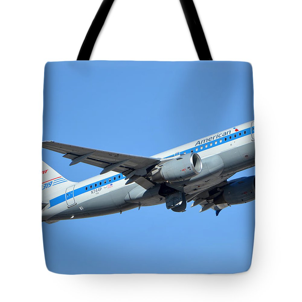 Airplane Tote Bag featuring the photograph American Airbus A319-0112 N744p Retro Piedmont Pacemaker Phoenix Sky Harbor January 21 2016 by Brian Lockett