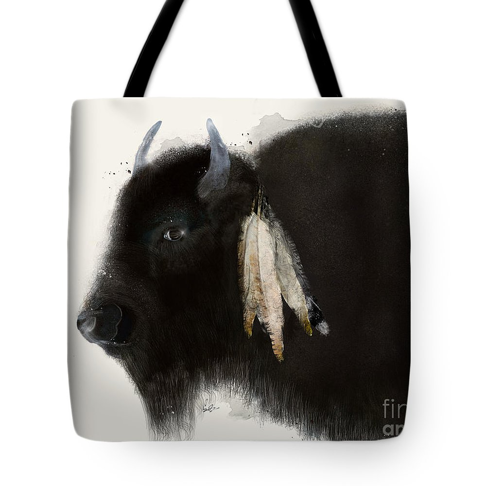Buffalo Tote Bag featuring the painting American Buffalo by Bri Buckley