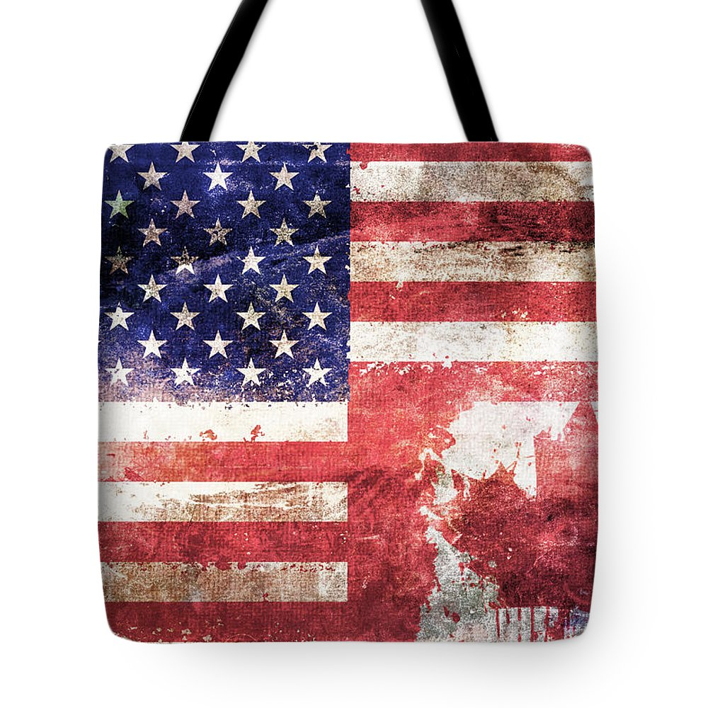 Composite Tote Bag featuring the digital art American Canadian Tattered Flag by Az Jackson