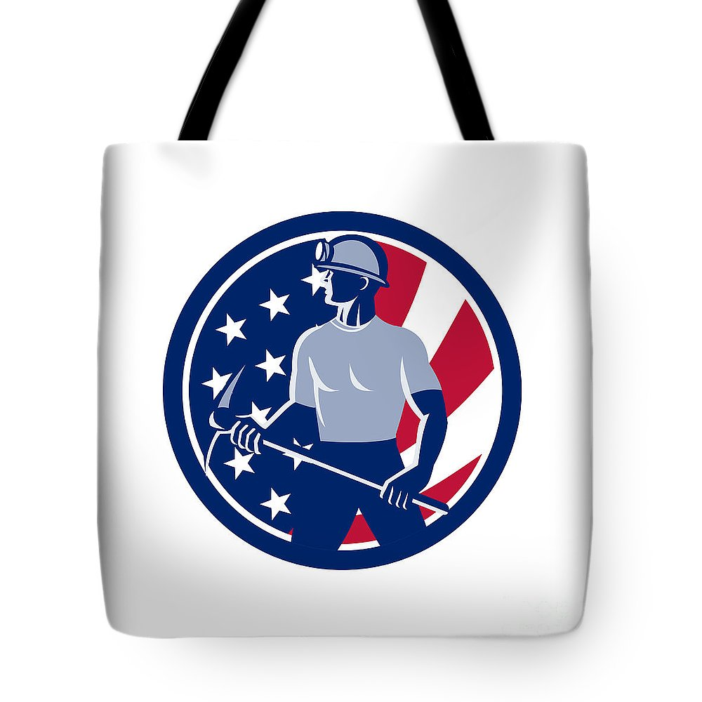 Icon Tote Bag featuring the digital art American Coal Miner Usa Flag Icon by Aloysius Patrimonio