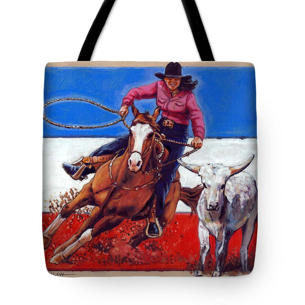 American Cowgirl Tote Bag featuring the painting American Cowgirl by John Lautermilch