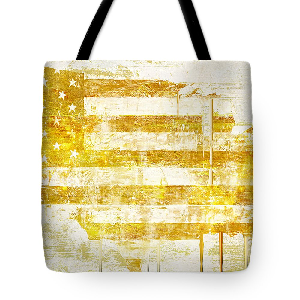 Usa Tote Bag featuring the painting American Flag Map by Mindy Sommers