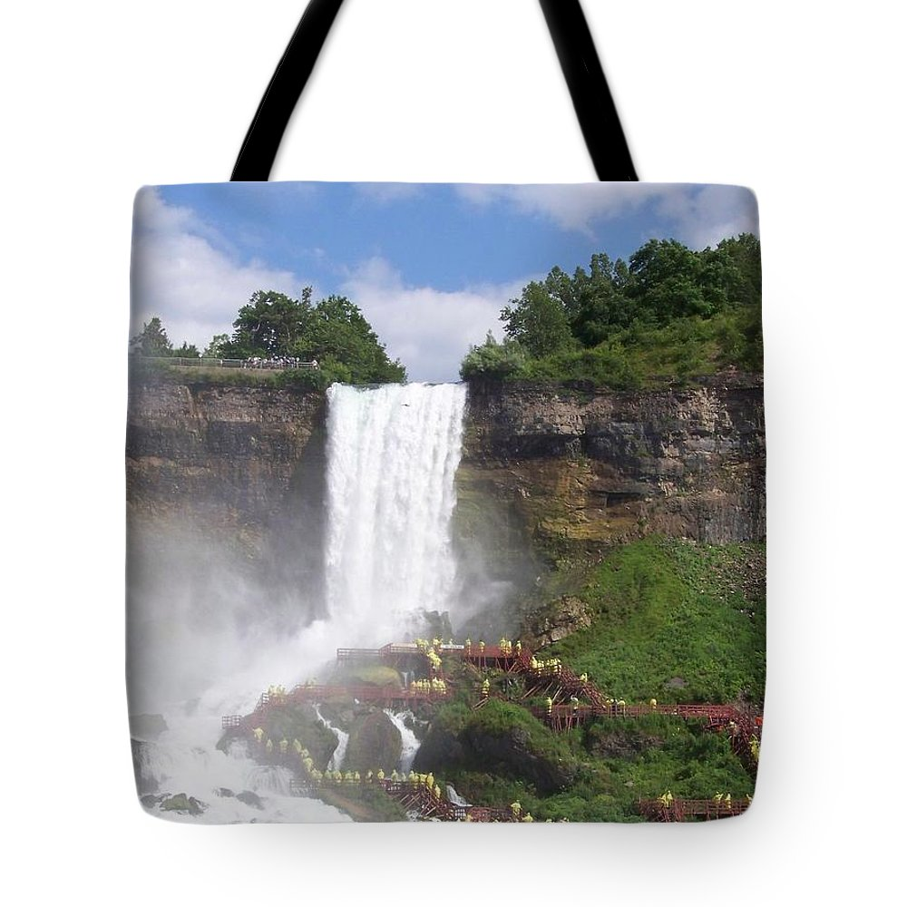 Niagra Falls Tote Bag featuring the photograph American Falls At Niagra by Laurie Paci
