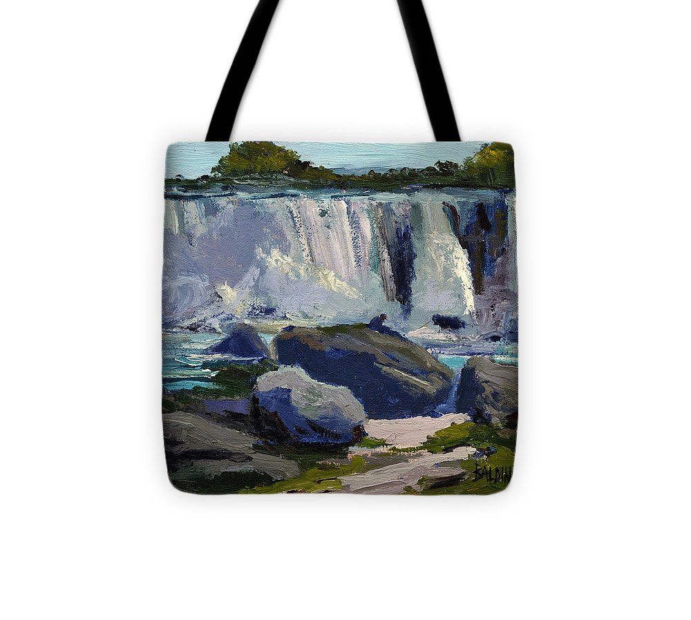 Niagara Falls Tote Bag featuring the painting American Falls by J R Baldini