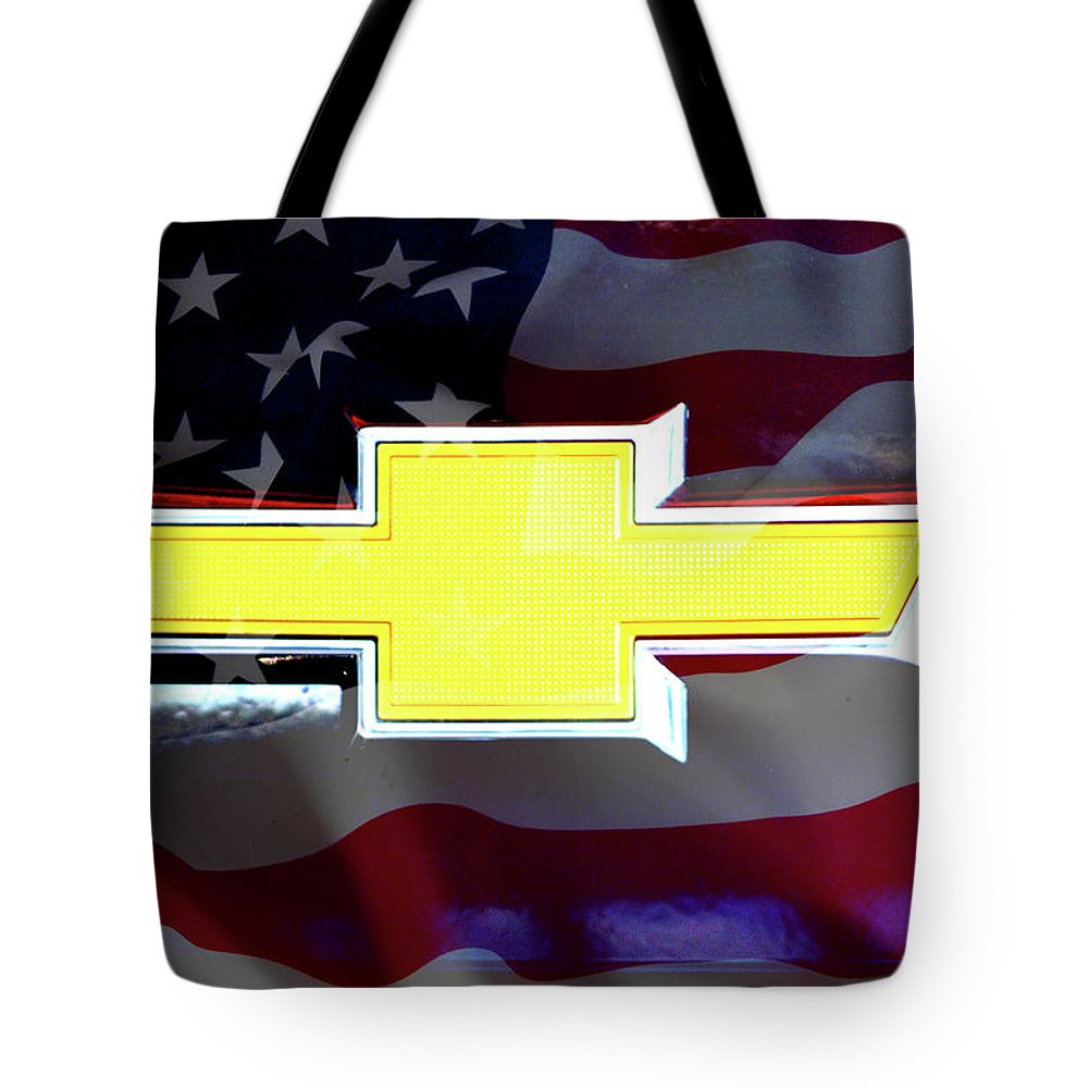 American Flag Chevy Bowtie Tote Bag