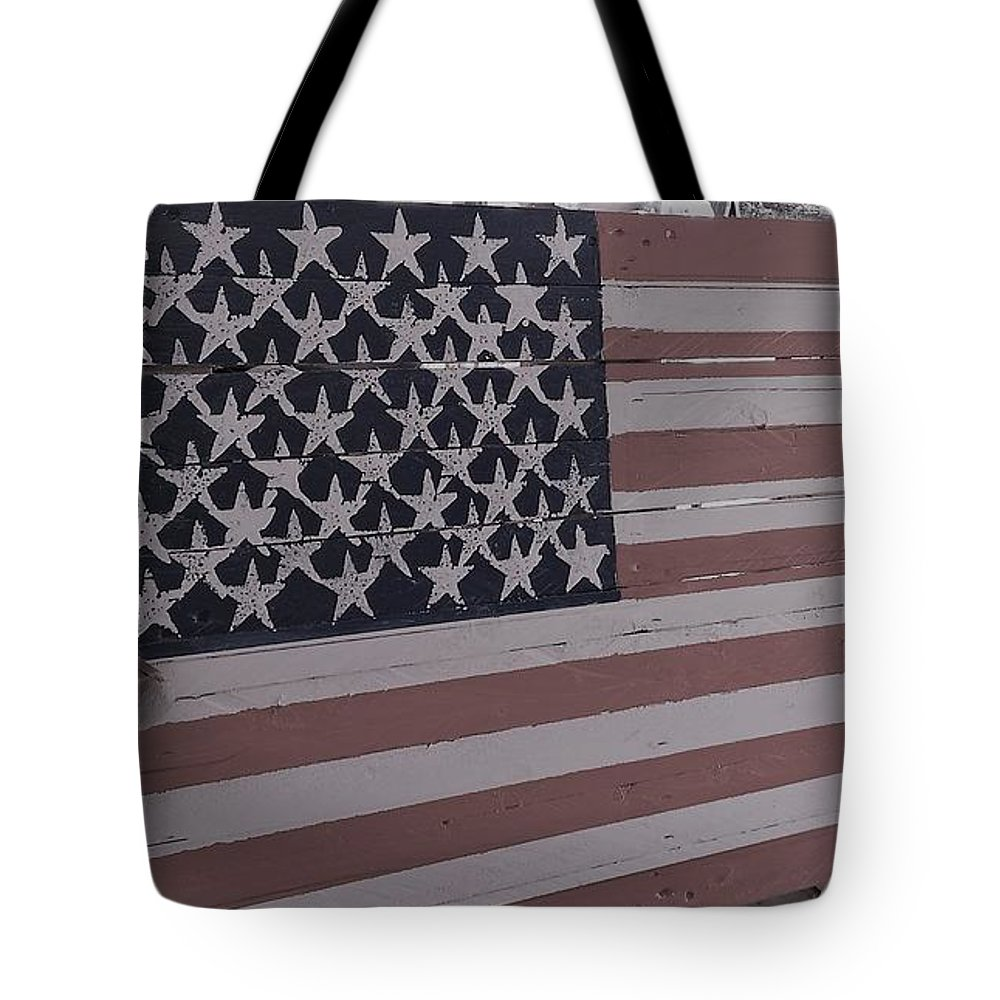 American Flag Shop Wood Working Handmade Pallet Art Tote Bag featuring the photograph American Flag Shop by Lee Barrett