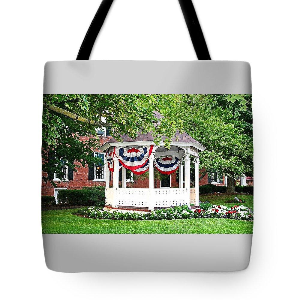 Gazebo Tote Bag featuring the photograph American Gazebo by Margie Wildblood