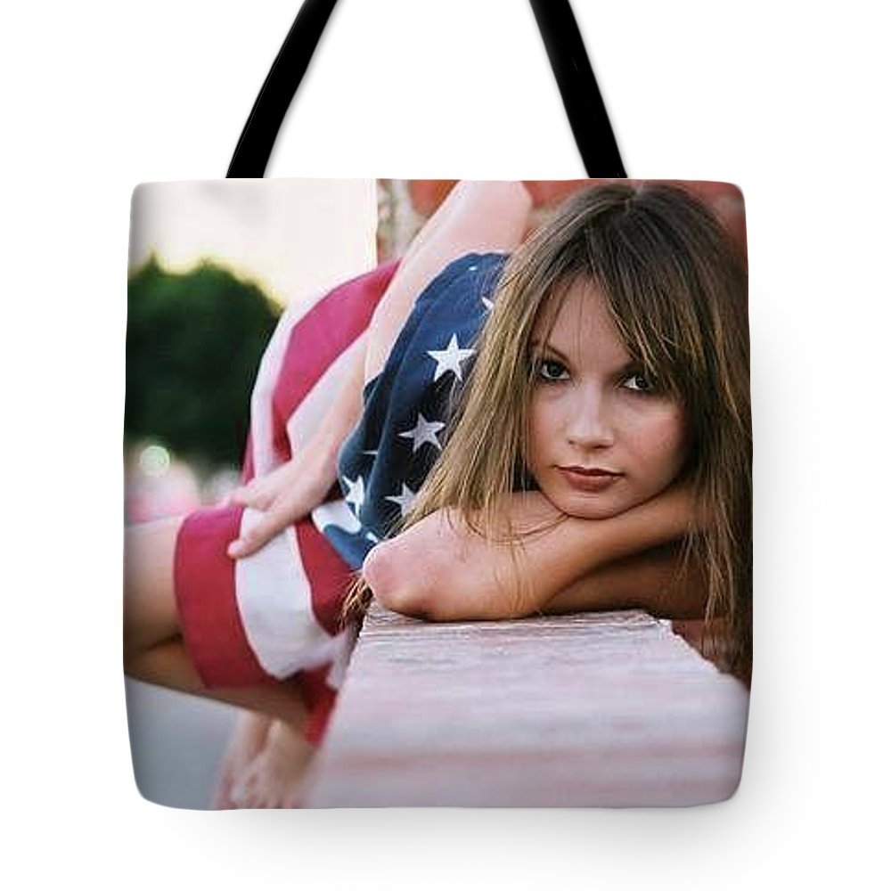 American Tote Bag featuring the photograph American Girl by Ace Micheals