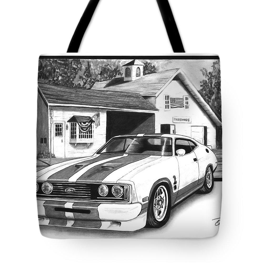 American Heartland 1978 Ford Cobra Tote Bag featuring the drawing American Heartland by Peter Piatt