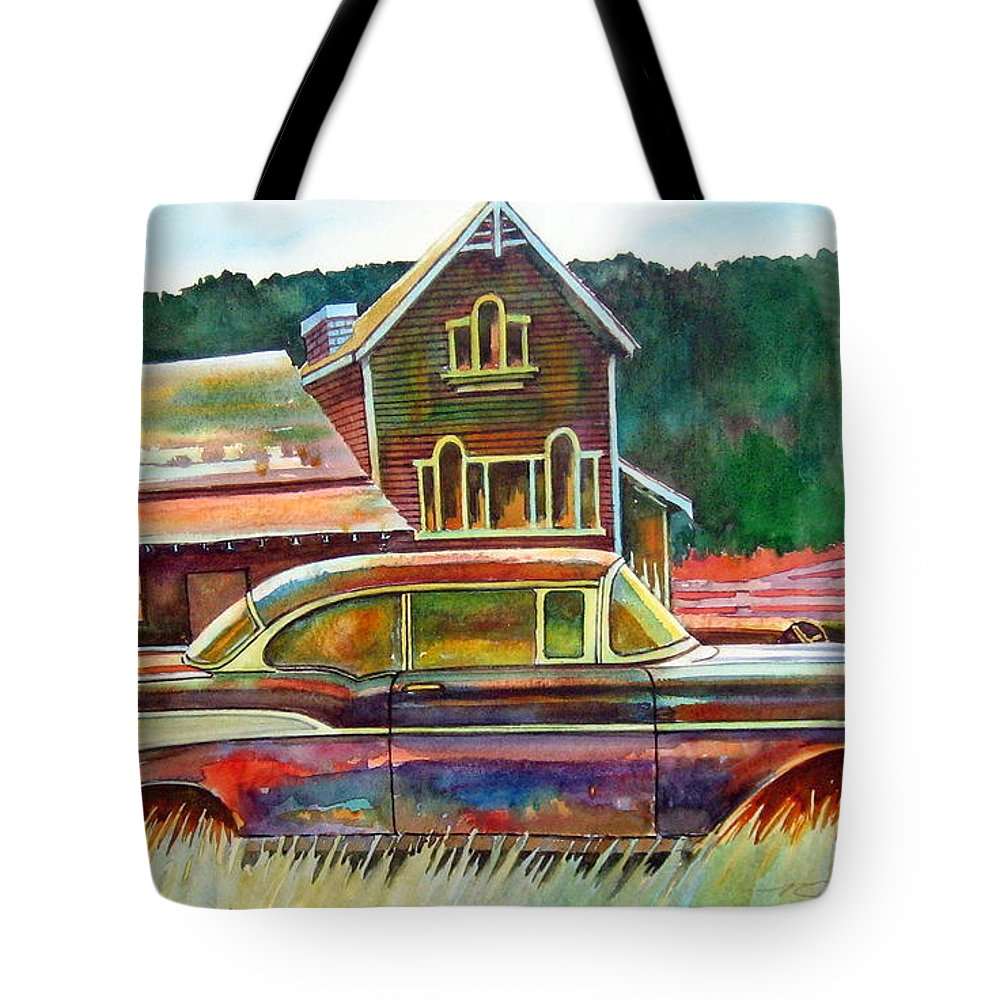 57 Chev Tote Bag featuring the painting American Heritage by Ron Morrison