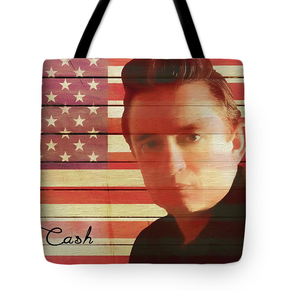 American Icon Johnny Cash Tote Bag featuring the mixed media American Icon Johnny Cash by Dan Sproul