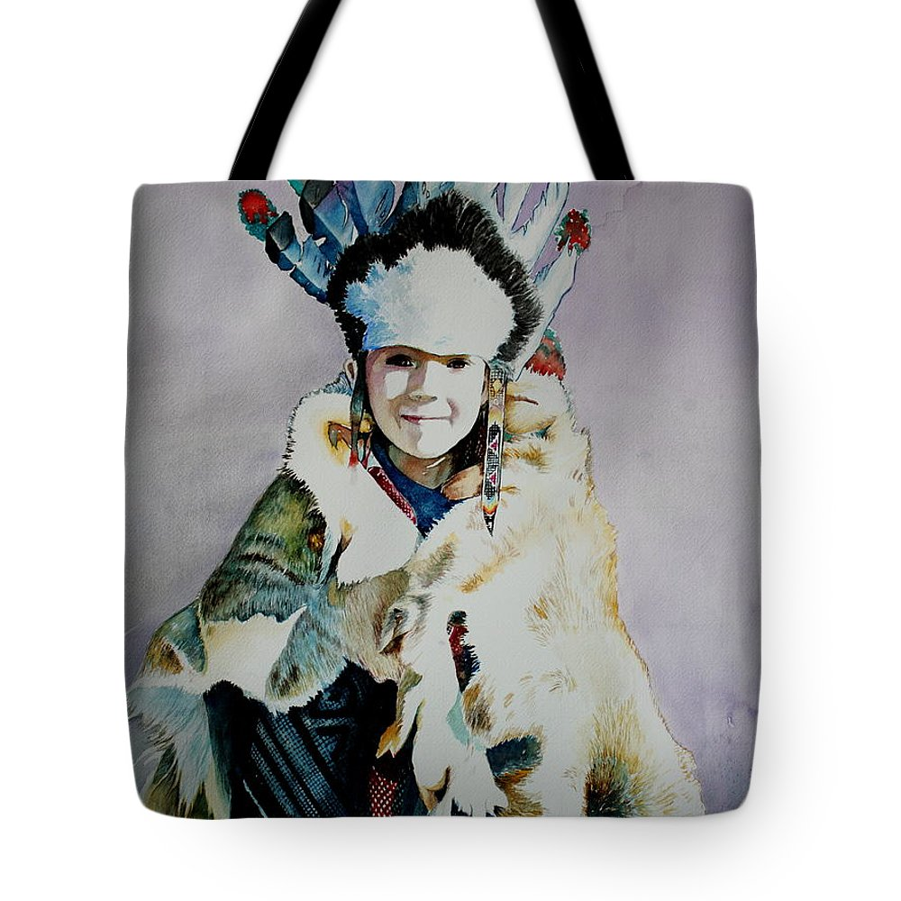 American Tote Bag featuring the painting American Indian Girl by Jelly Starnes