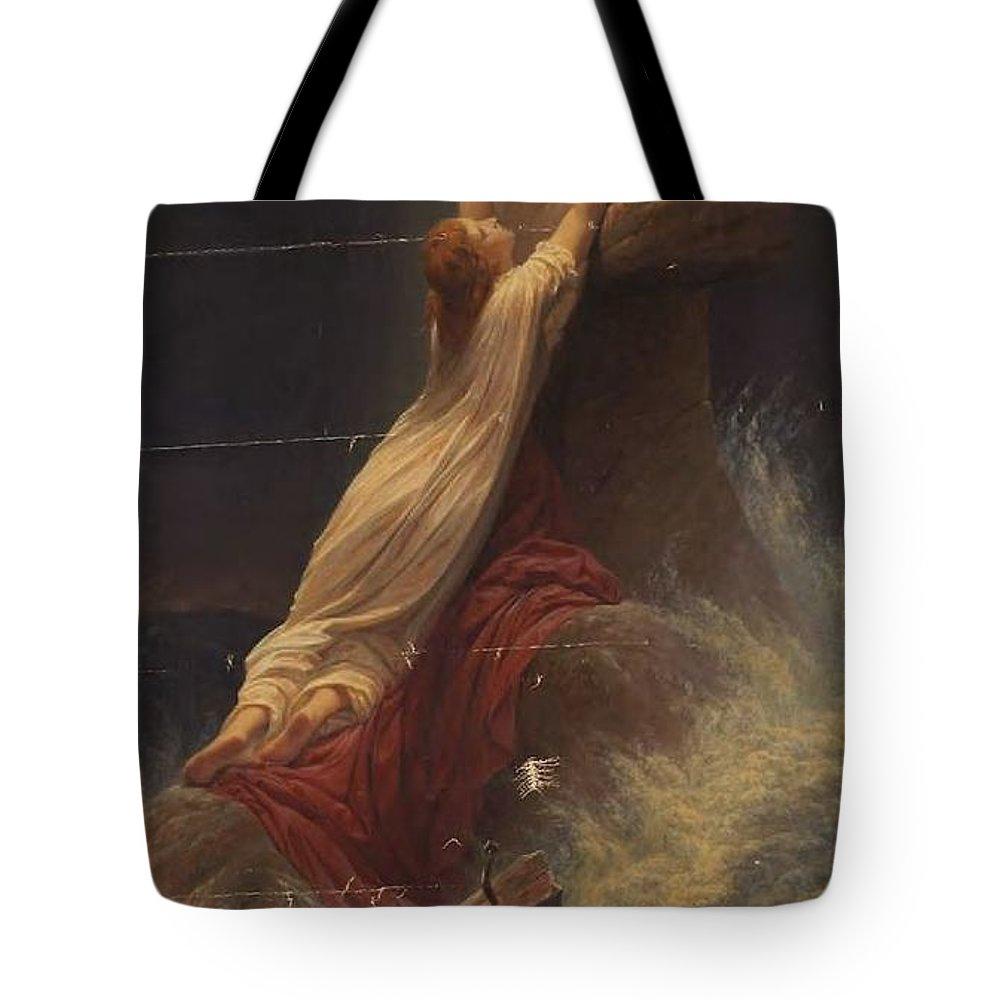Johannes Adam Simon Oertel Tote Bag featuring the painting Rock Of Ages by Johannes Adam Simon Oertel