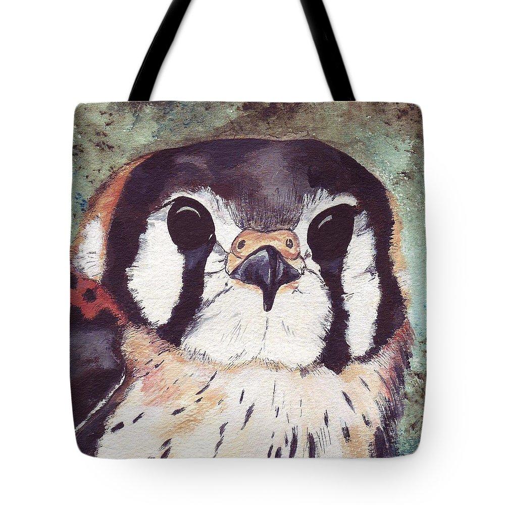 Raptor Tote Bag featuring the painting American Kestrel by Debra Sandstrom