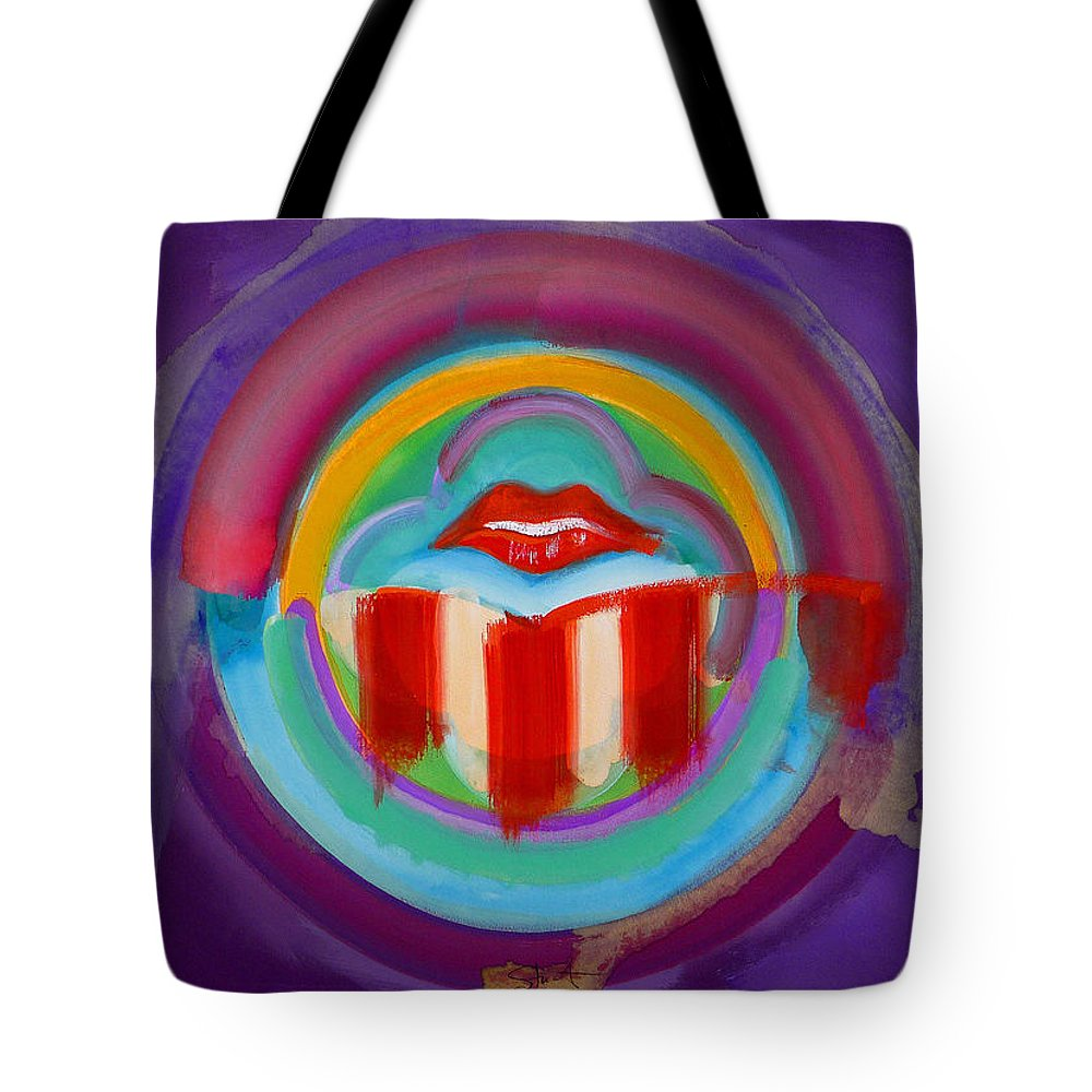 Button Tote Bag featuring the painting American Kiss by Charles Stuart