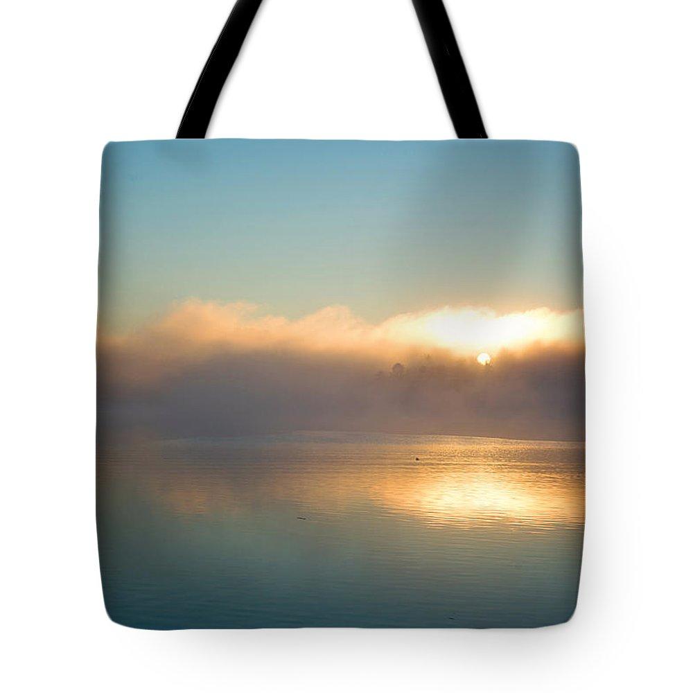 Landscape Tote Bag featuring the photograph American Lake Sunrise by Amanda De Vos