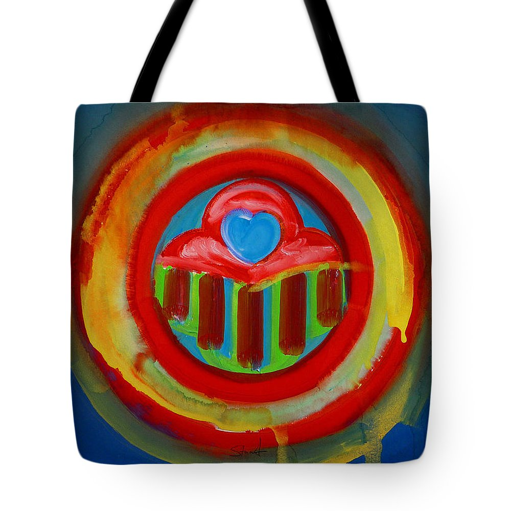 Button Tote Bag featuring the painting American Love Button by Charles Stuart