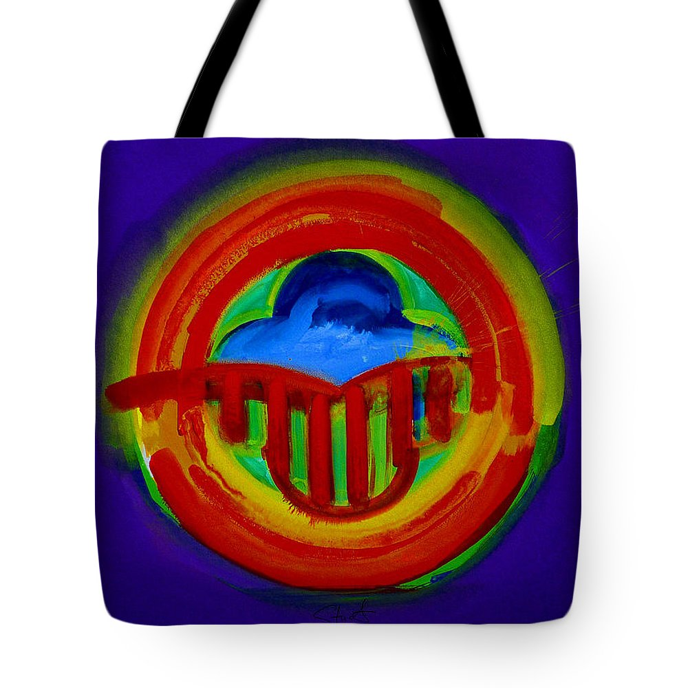 Button Tote Bag featuring the painting American Power Button by Charles Stuart