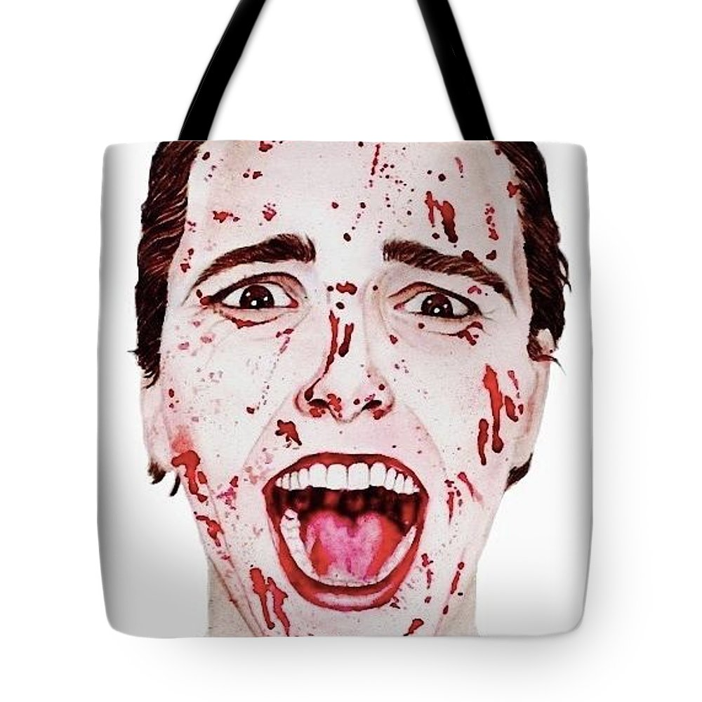 Blood Tote Bag featuring the painting American Psycho by Alyssa Torres