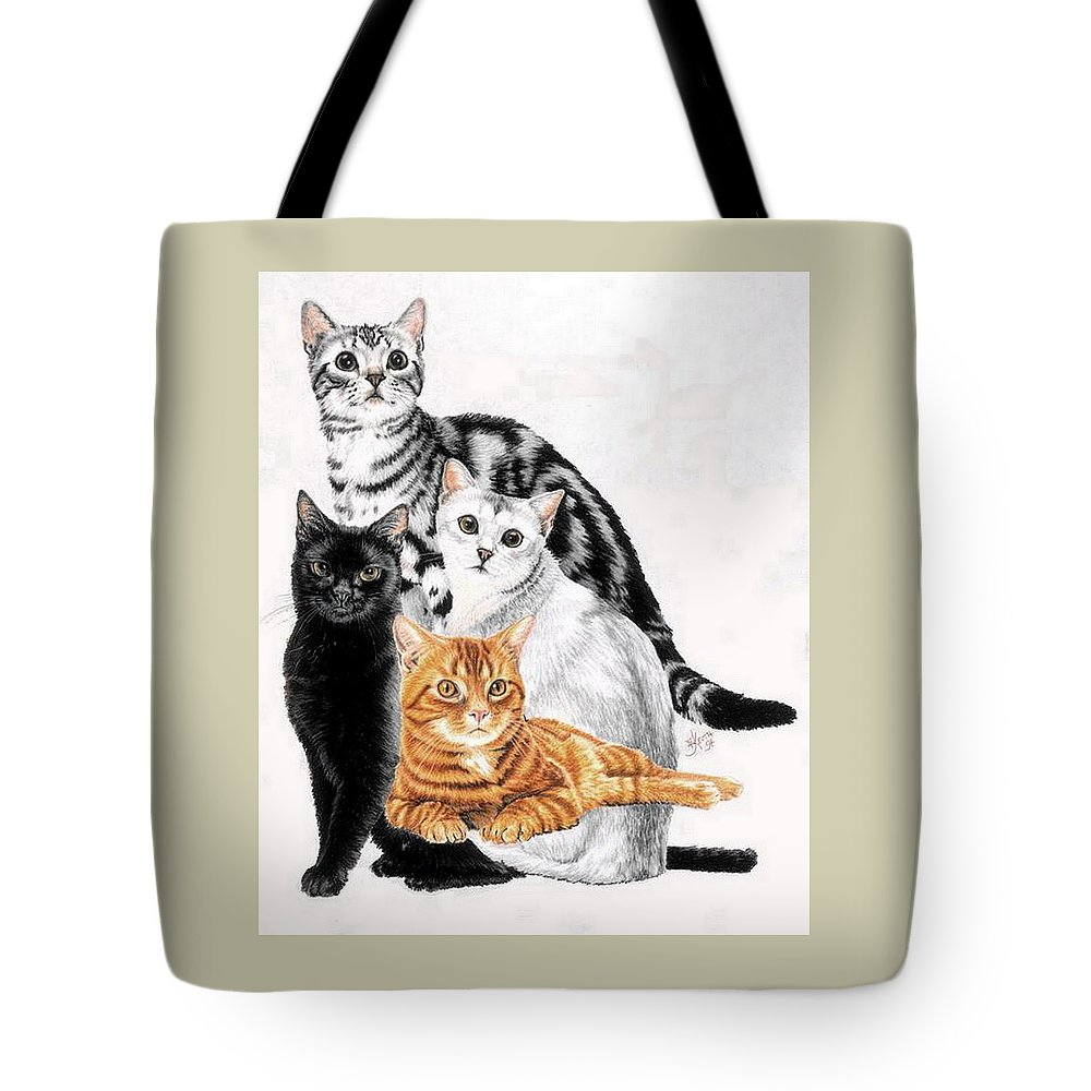 Domestic Tote Bag featuring the painting American Shorthair by Barbara Keith