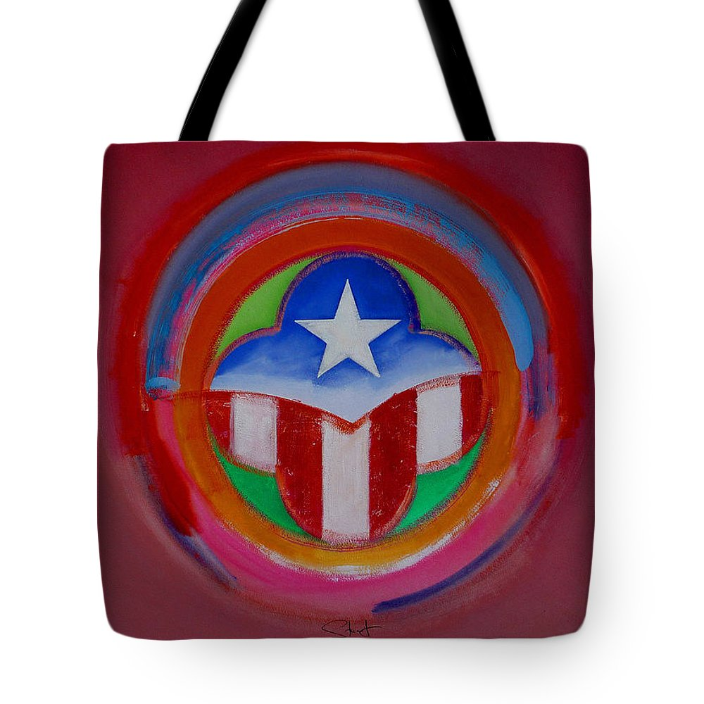 Button Tote Bag featuring the painting American Star Button by Charles Stuart