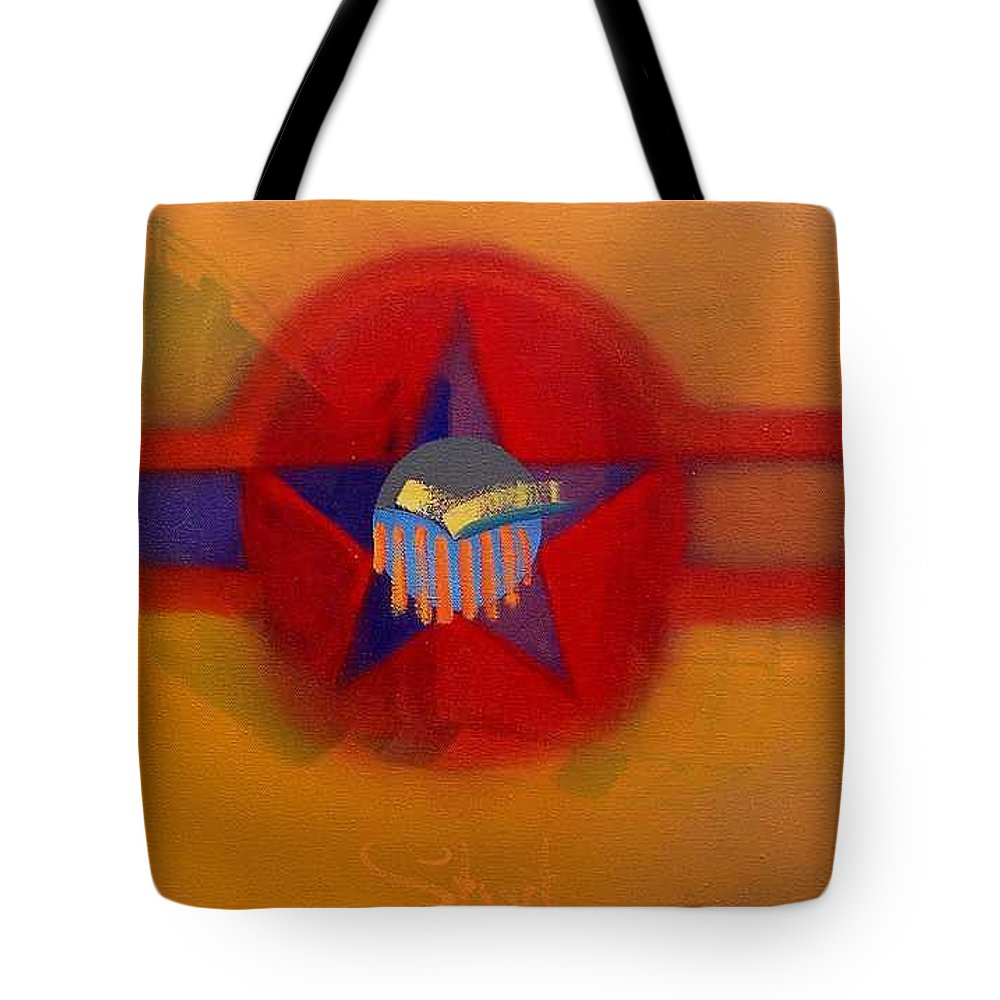 Usaaf Insignia And Idealised Landscape In Union Tote Bag featuring the painting American Sub Decal by Charles Stuart