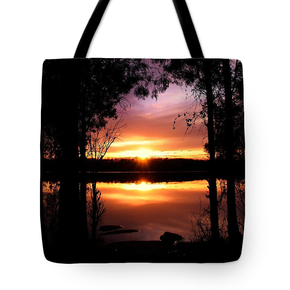 Landscape Tote Bag featuring the photograph American Sunset by Mitch Cat