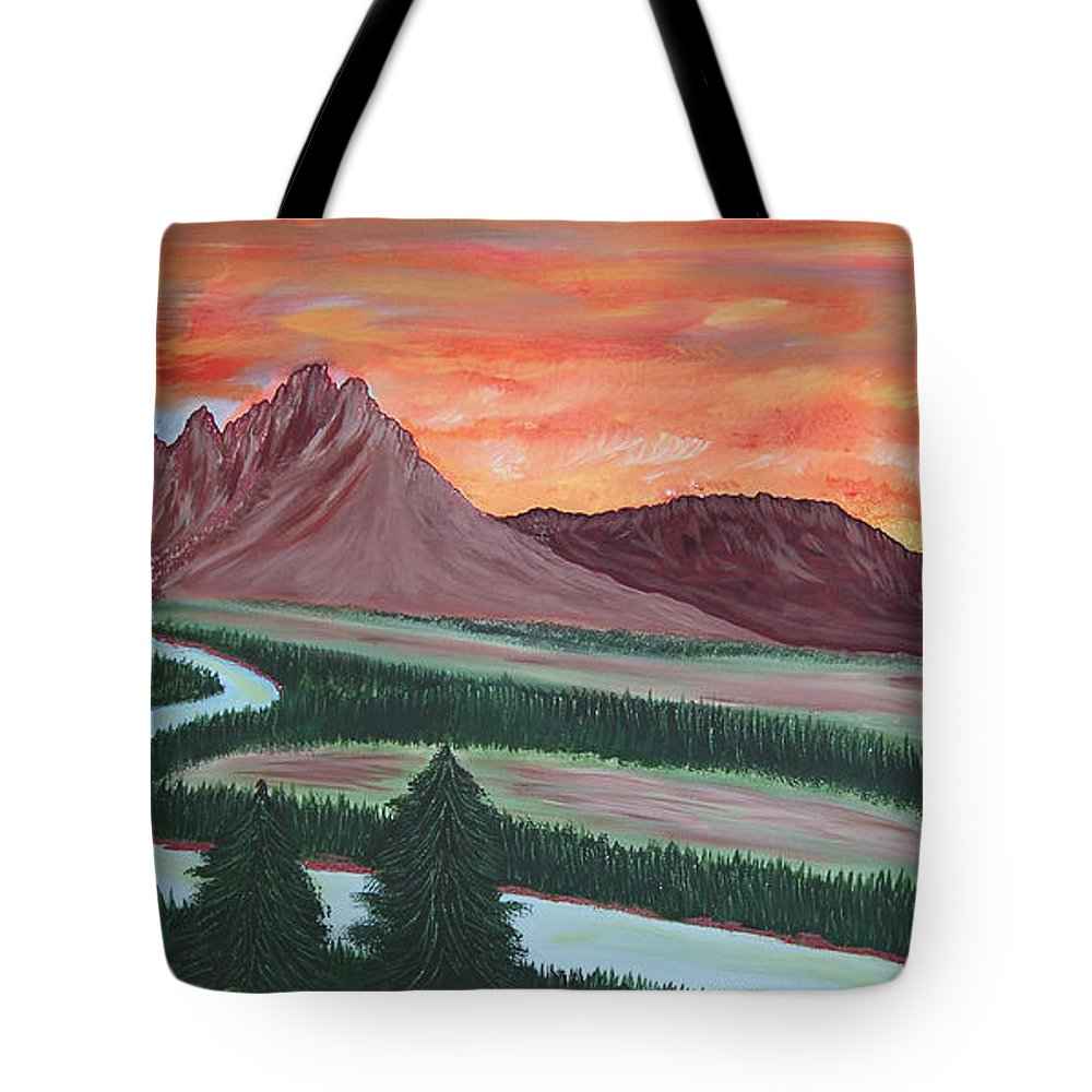 Landscape Tote Bag featuring the painting American Valley by Marco Morales