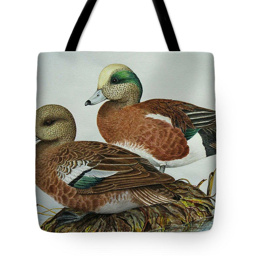 Ducks Tote Bag featuring the painting American Widgeons by Elaine Booth-Kallweit