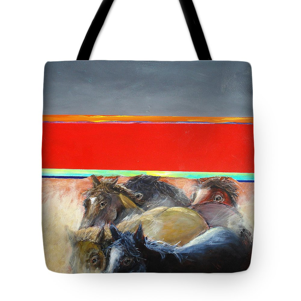 American Wild Horses Tote Bag featuring the painting American Wild Horses Herded To Slaughter by Paul Miller