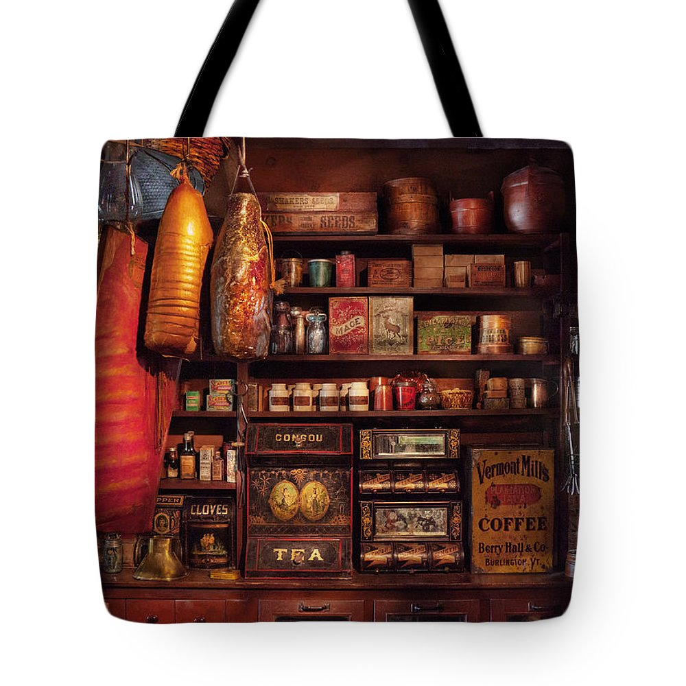 Store Tote Bag featuring the photograph Americana - Store - The Local Grocers by Mike Savad
