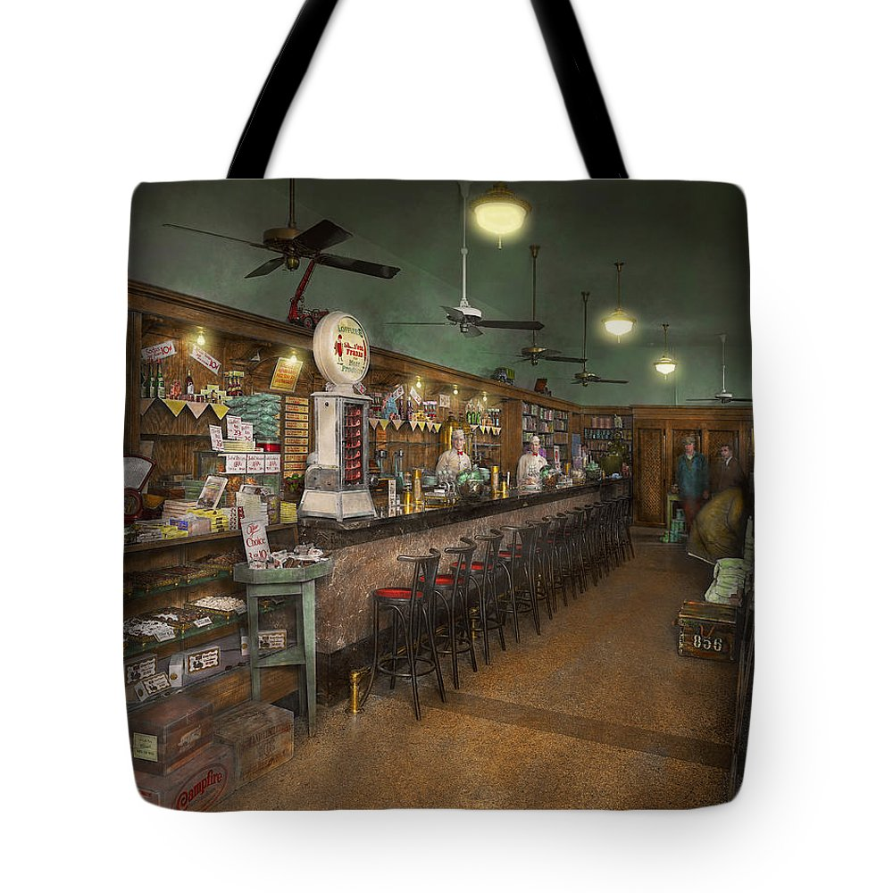 Box Tote Bag featuring the photograph Americana - Soda - The People's Soda Fountain 1928 by Mike Savad