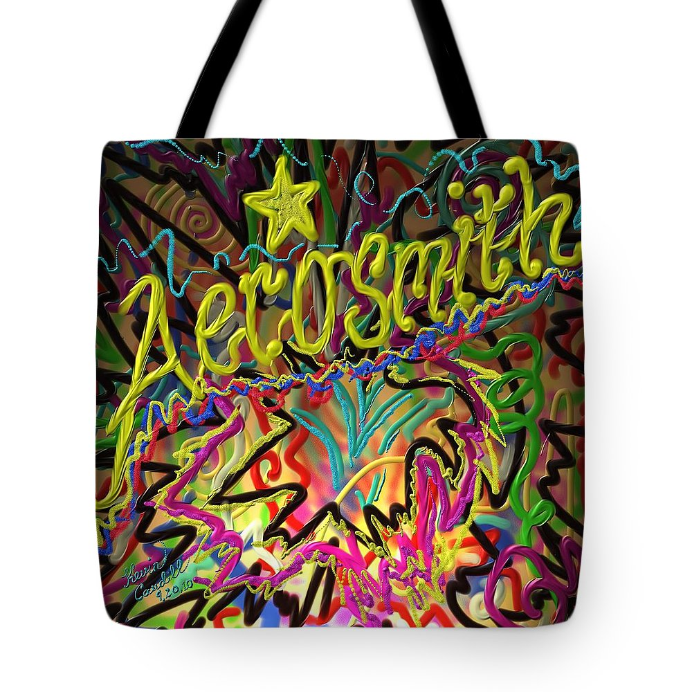 Aerosmith Tote Bag featuring the painting America's Rock Band by Kevin Caudill