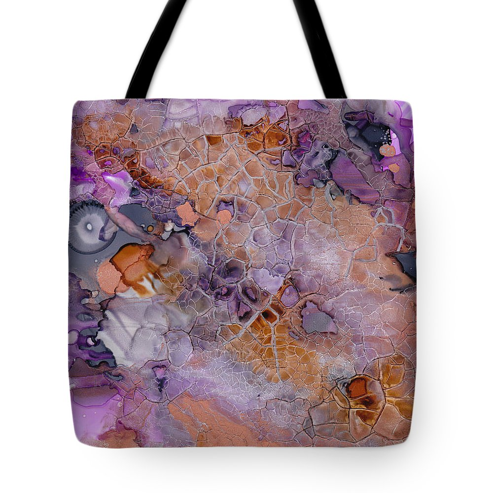 Abstract Tote Bag featuring the mixed media Amethyst And Copper by Susan Kubes