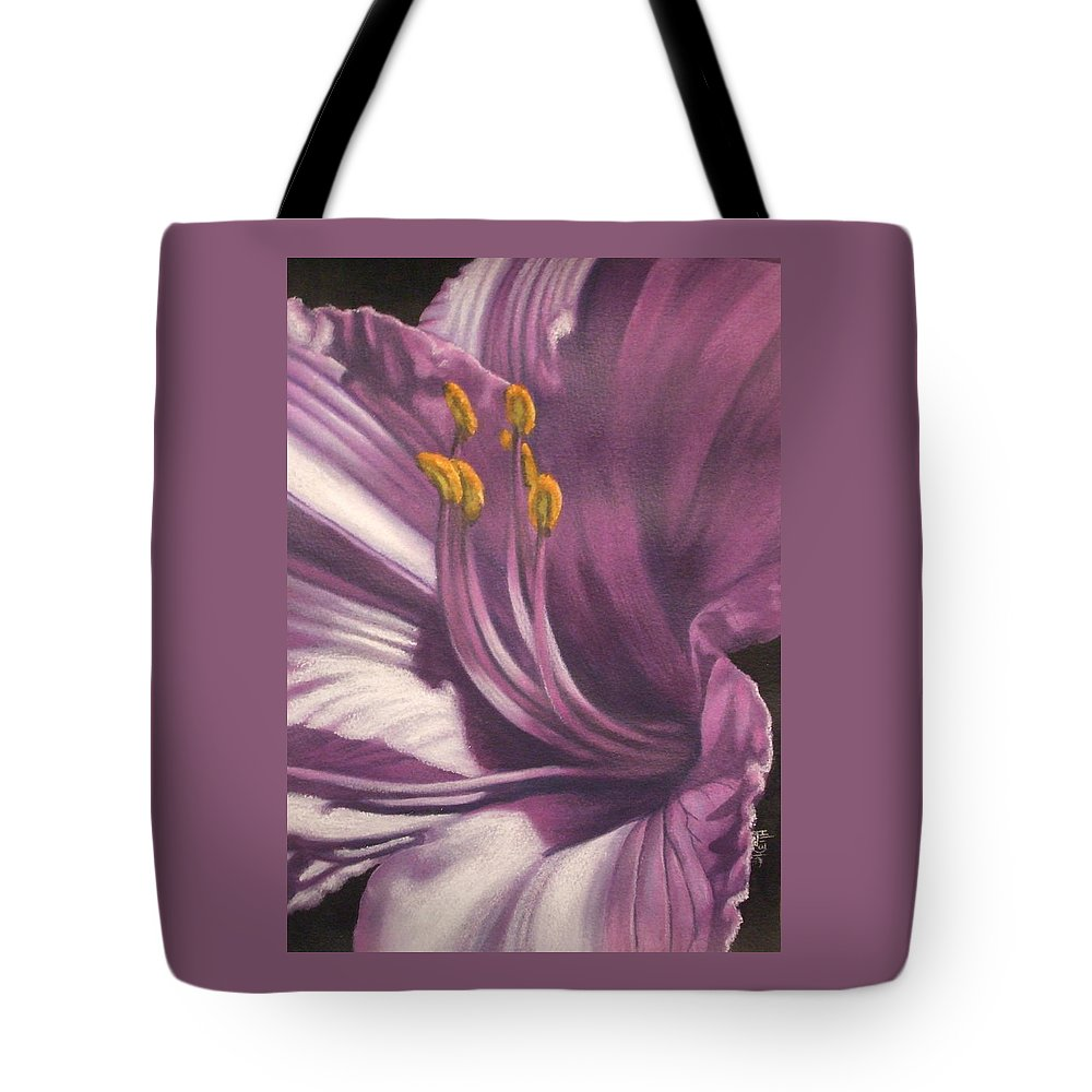 Floral Tote Bag featuring the mixed media Amethyst by Barbara Keith