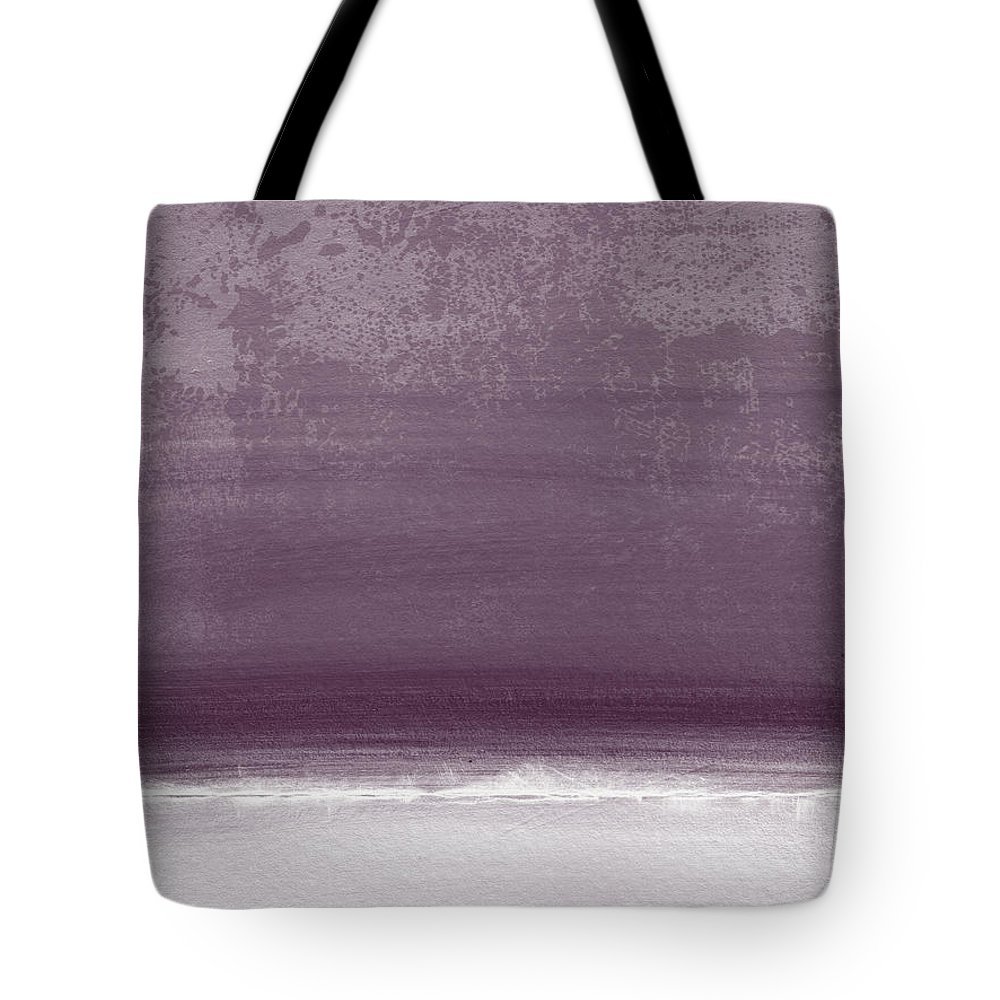 Beach Tote Bag featuring the painting Amethyst Shoreline- Abstract art by Linda Woods by Linda Woods