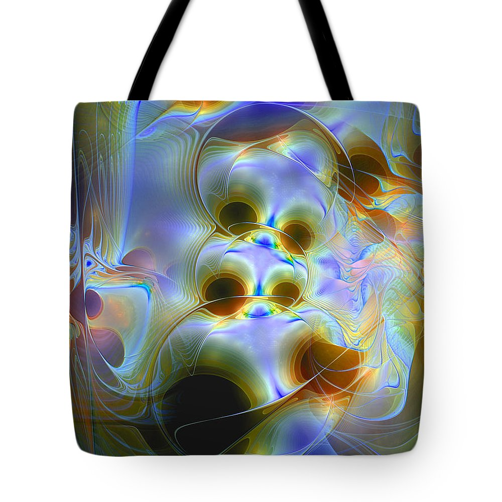 Abstract Tote Bag featuring the digital art Amiable Catharsis by Casey Kotas