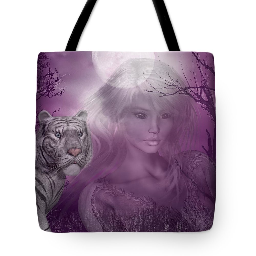 White Tiger Tote Bag featuring the digital art Amidst The Aura by RiaL Treasures