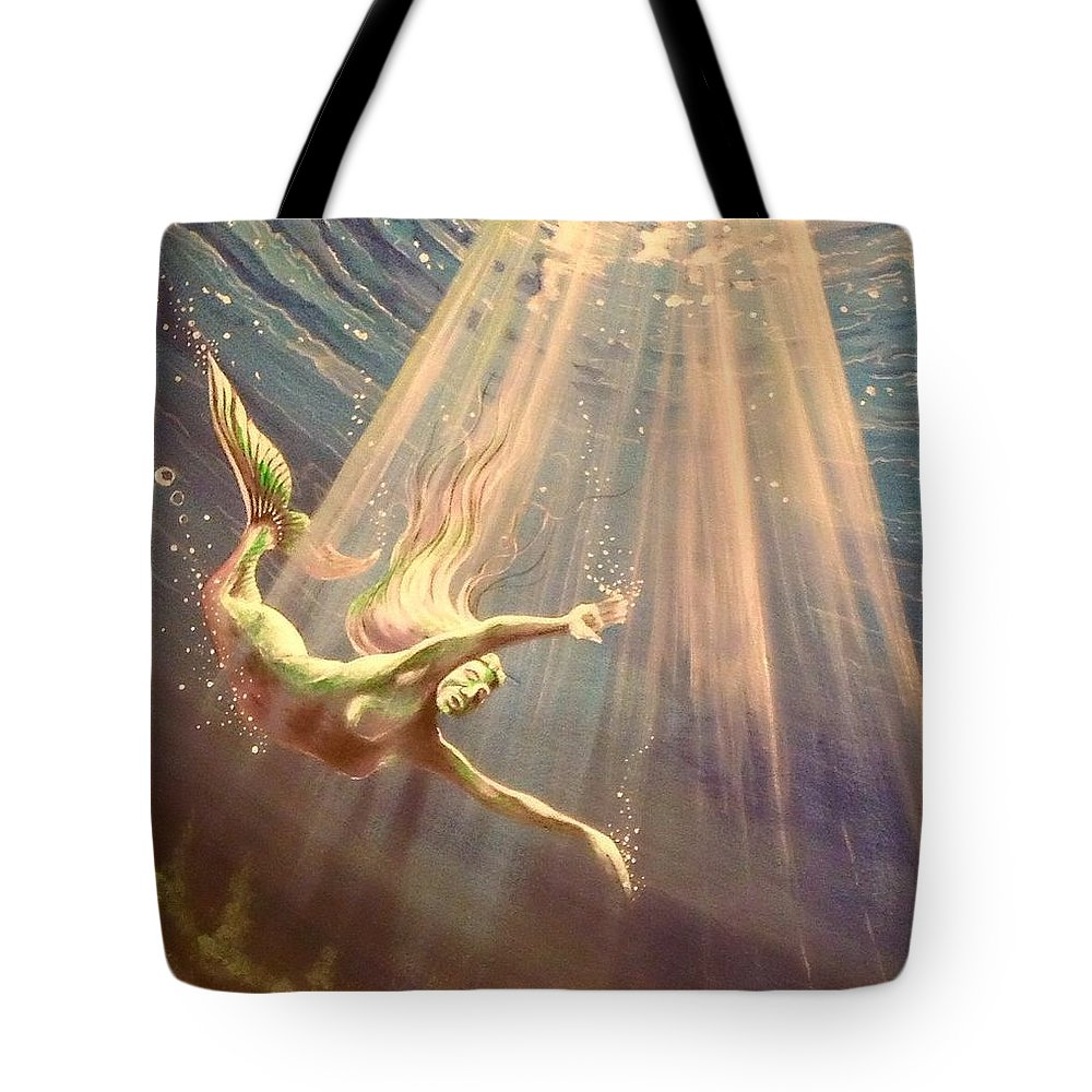 Acrylic Tote Bag featuring the painting Amidst The Deep by Jon Rundstrom