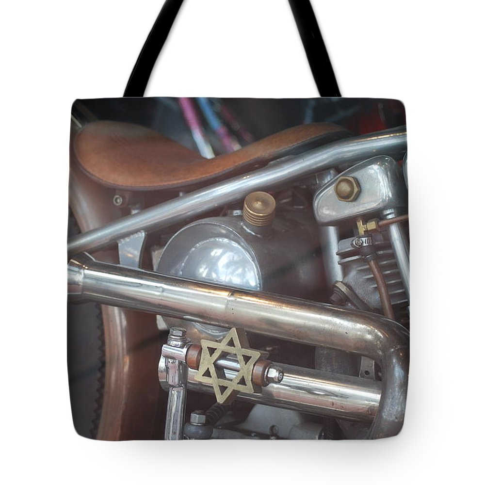 Motorcycle Tote Bag featuring the photograph Ami's Bike by Rob Hans