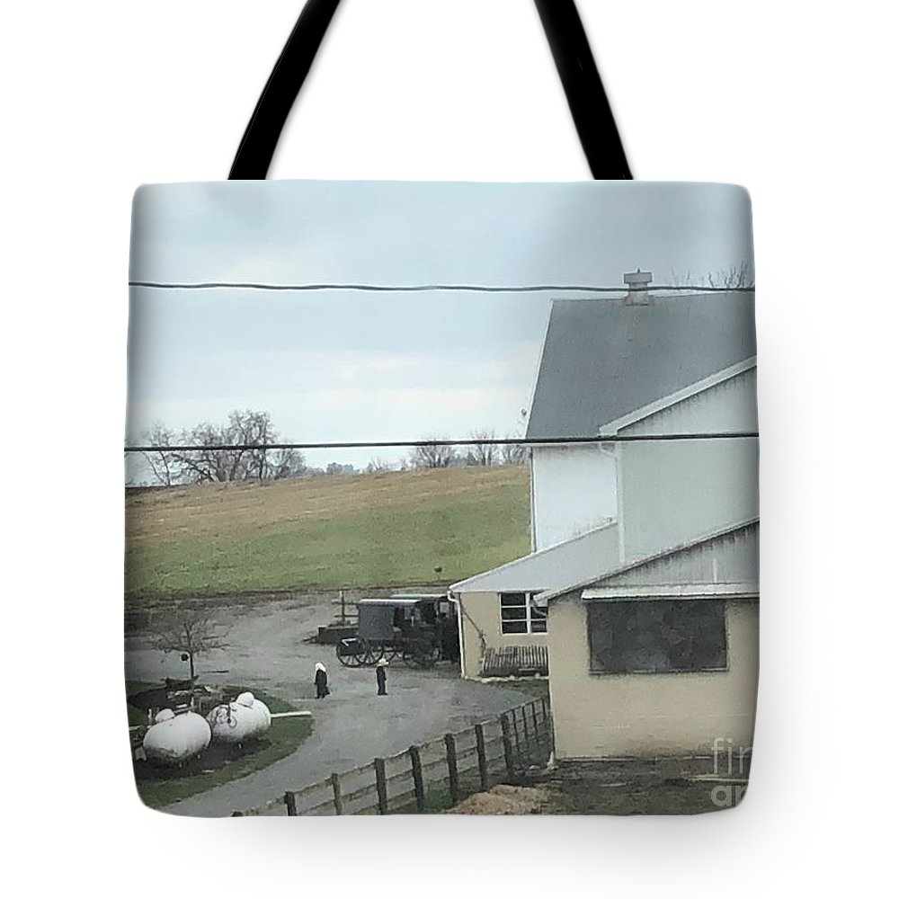 Christine Clark Tote Bag featuring the photograph Amish Children Walk To The Barn by Christine Clark