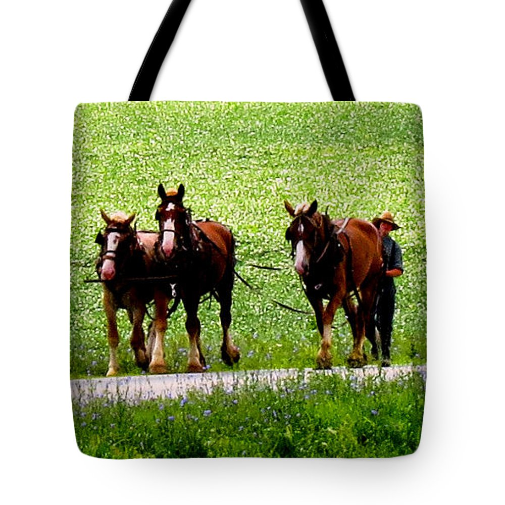 Western Wisconsin Amish Horse Team Tote Bag featuring the photograph Amish Horse Team by Stephanie Forrer-Harbridge