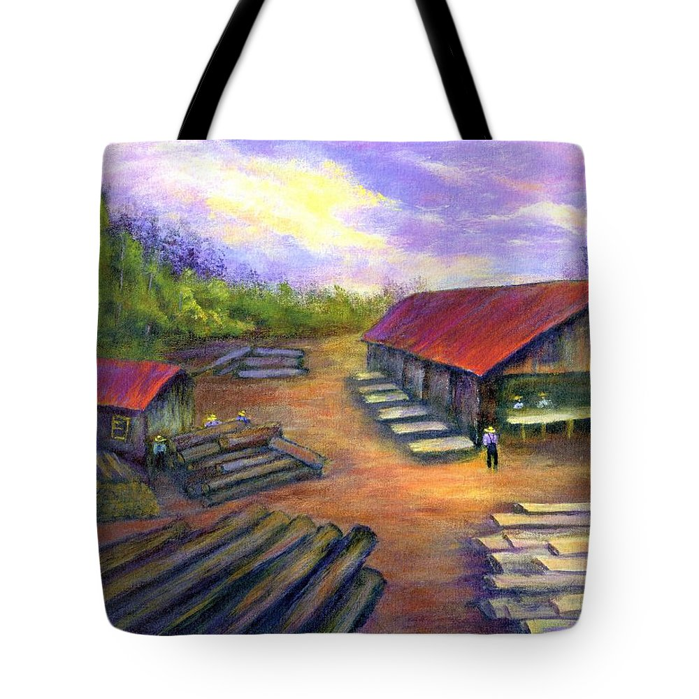 Amish Tote Bag featuring the painting Amish Lumbermill by Gail Kirtz