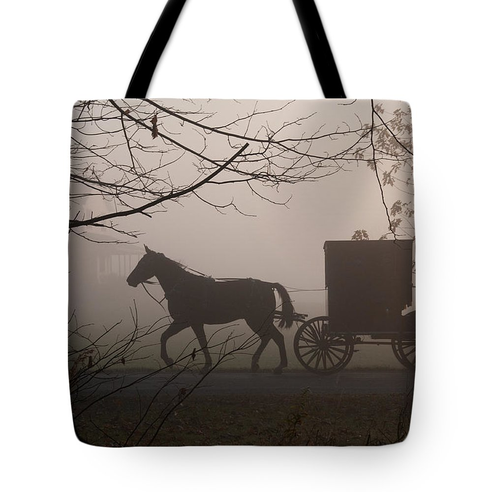 Amish Buggy Tote Bag featuring the photograph Amish Morning 1 by David Arment