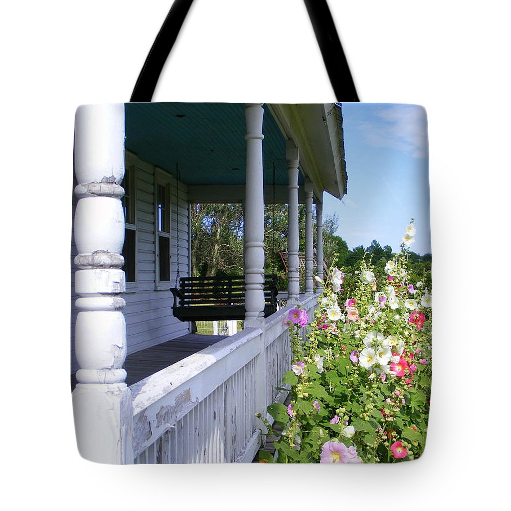 Amish Porch Tote Bag featuring the photograph Amish Porch by Ed Smith
