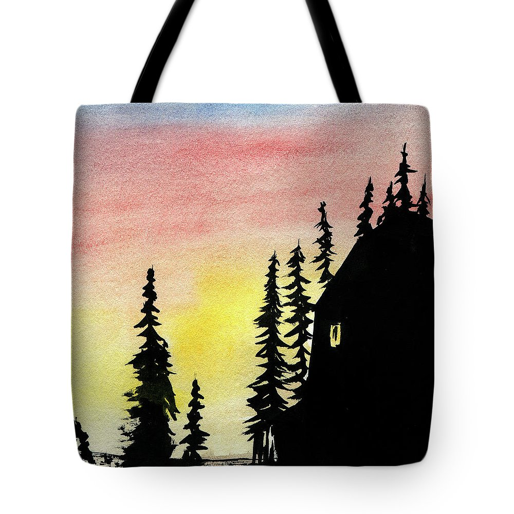 Landscape Trees Sky Background Sunset Pine Blue Barn Wilderness Scene Yellow White View Tree Tranquil Snowy Red Outdoor Orange Black Ink Watercolor Kyllo Art Winter Western West Sunshine Sunrise Sunlight Sun Season Rural Quiet Pines Picture Peaceful Outside Land Golden Evening Day Dawn Calm Beautiful Window Wash Sundown Structure Spruce Silhouettes Silhouette Silence Shadows Serenity Serene Rustic Ruined Relaxing Range Ranch Pink Peace Old Northern Lonely Idyllic High Decline Chill Building Tote Bag featuring the mixed media Among The Pines by R Kyllo