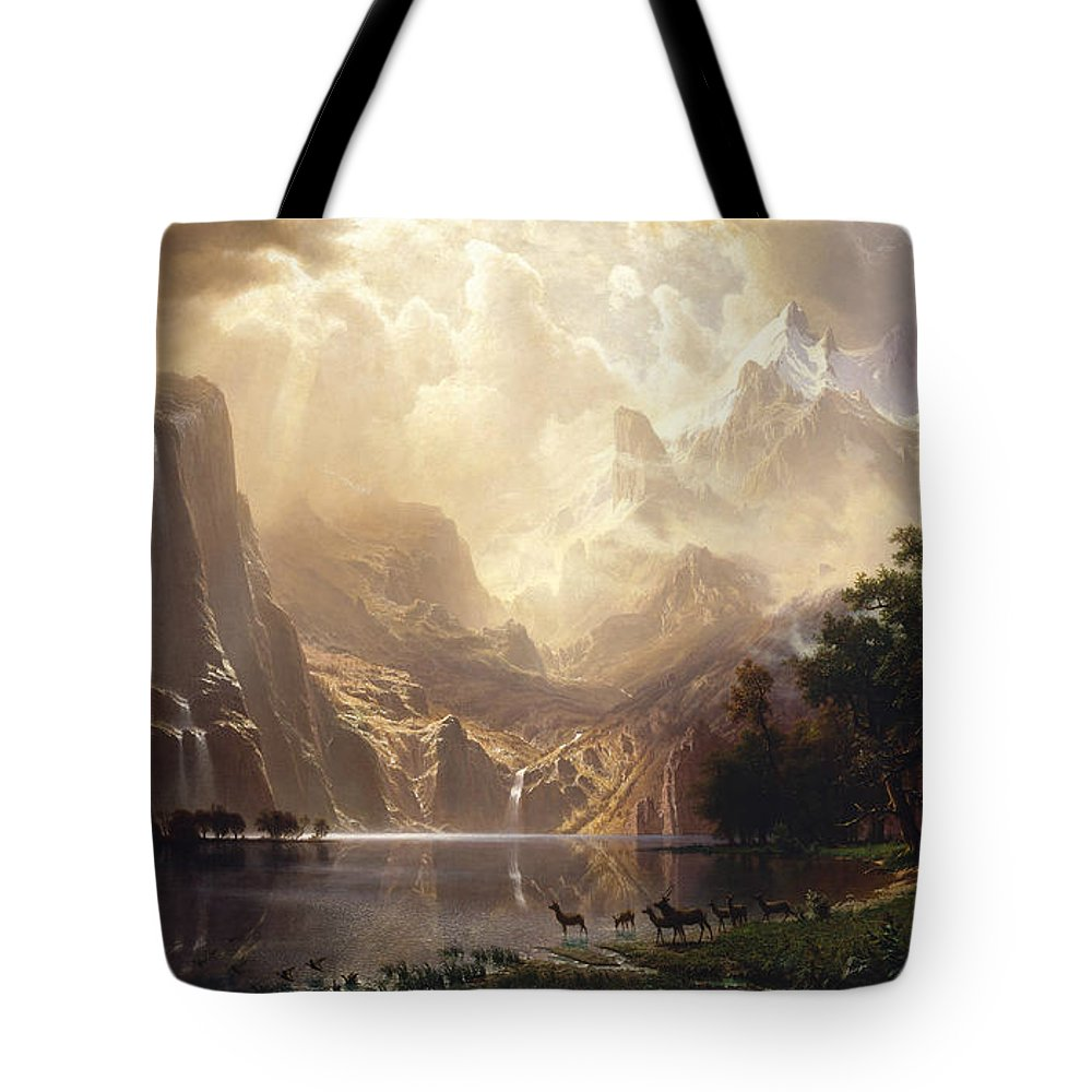 Albert Bierstadt Tote Bag featuring the painting Among the Sierra Nevada by Albert Bierstadt